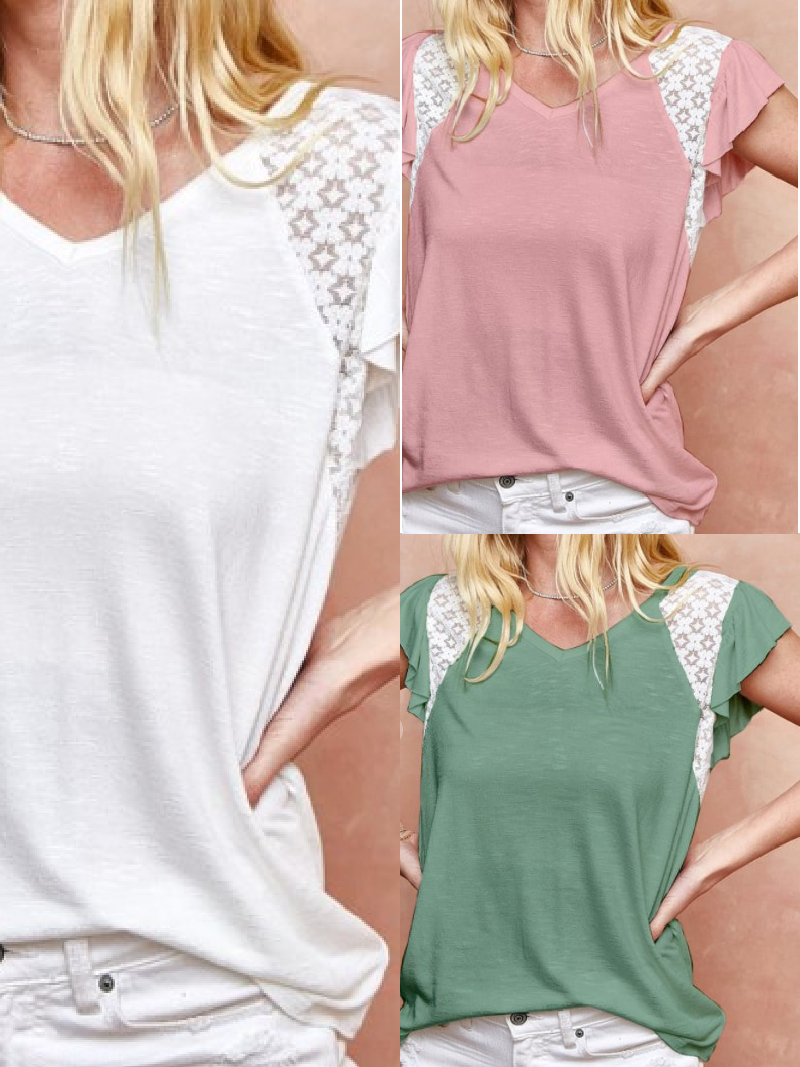 Day Dreamer Lacey Ruffle Sleeve Top