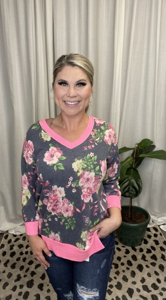 Navy and Pink Floral Top