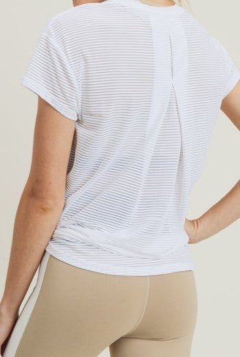 PLUS ONLY Sheer Striped Mesh Pleated Back Tee