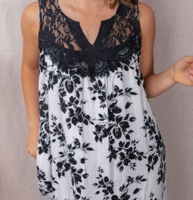 Floral Print Babydoll Dress Ivory