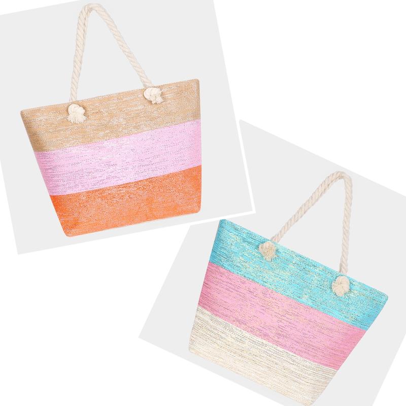 Triple Color Block Beach Tote Bag