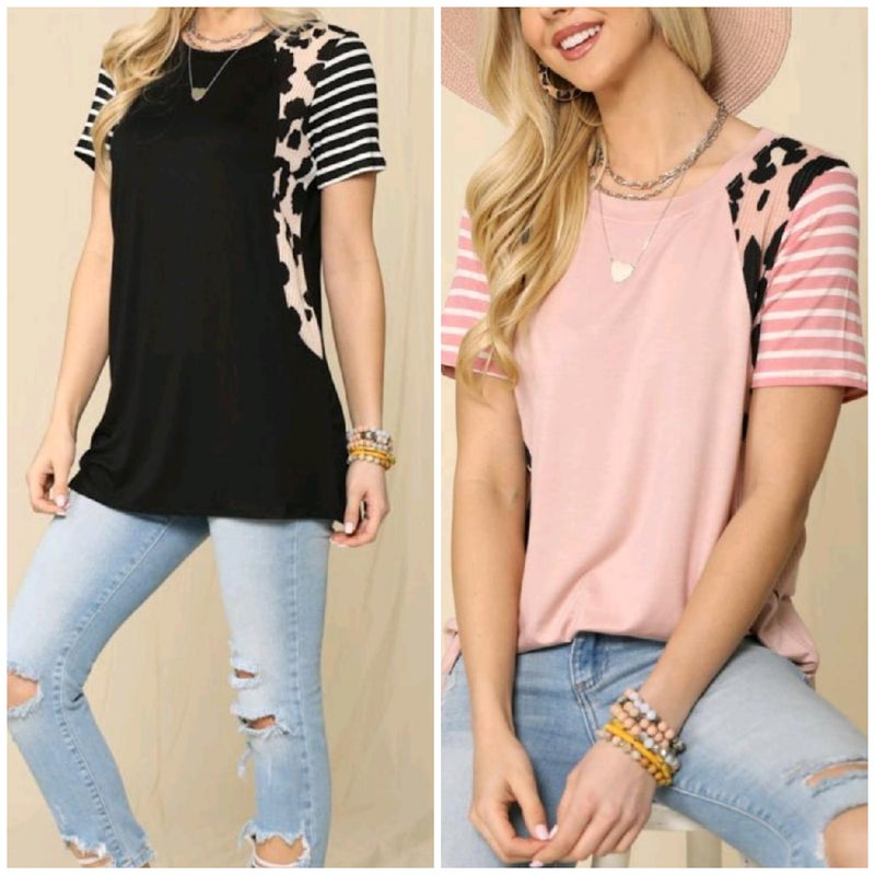 Leopard and Stripes Soft Tee