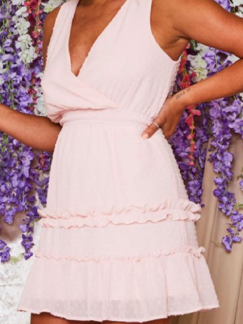 Sleeveless Swiss Dot Mini Dress