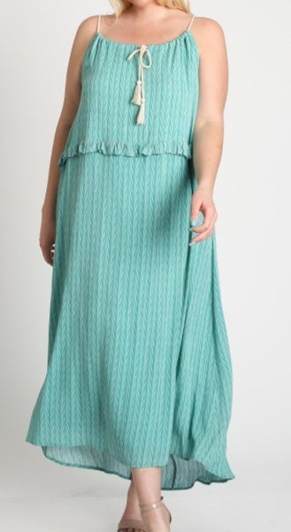 Adjustable Strap Tassel Maxi Dress