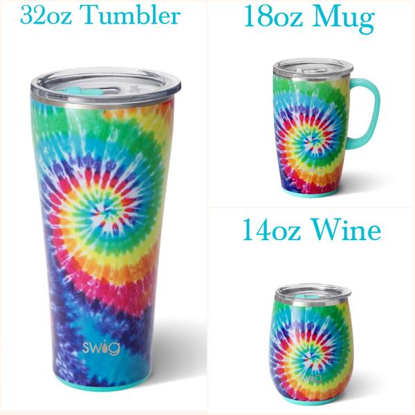 Swirled Peace Swig - 14oz Wine Glass, 18oz. Mug or 32oz. Tumbler