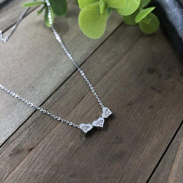 Dainty Triple Heart CZ Necklace