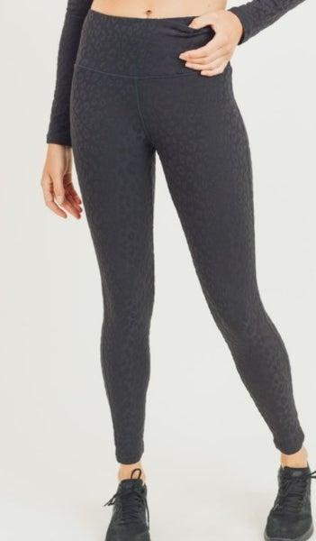 Leggings - Textured Leopard Print TACTEL Highwaist
