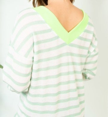Stripe V-Neck Knit Top
