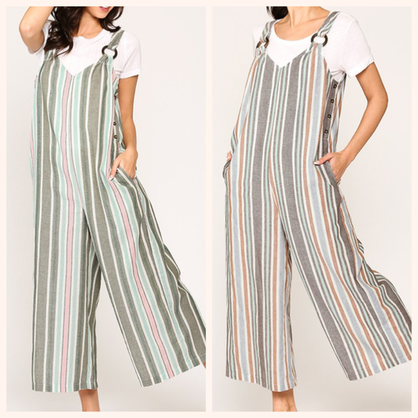 Striped Wide Pants Jumpsuit (MULTIPLE COLORS)