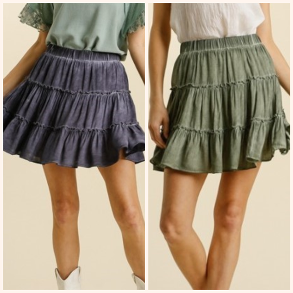 Washed Ruffle Tiered Skirt