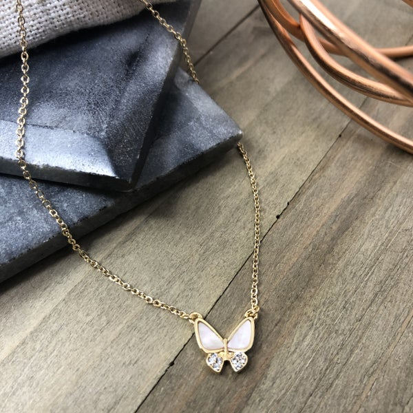 Butterfly with Rhinestone Necklace