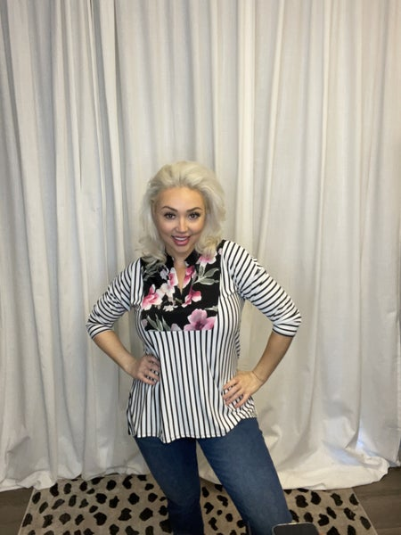 Floral and Stripe Cross Cut Gabby