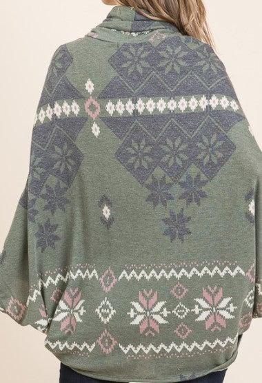 Cowl Neck Aztec Poncho