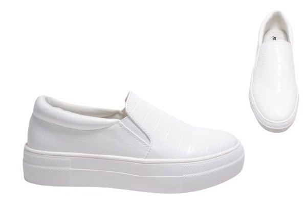 Hike Vegan Leather Snakeskin Slip On Shoe - White