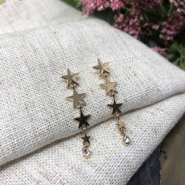 Star Dangles w/ Clear Stone Stud