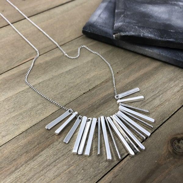 Rectangle Bar Tassel Pendant Long Necklace