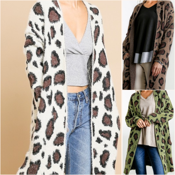 Animal Print Fuzzy Cardigan