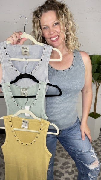 Mineral Washed Studded Tank (4 colors)