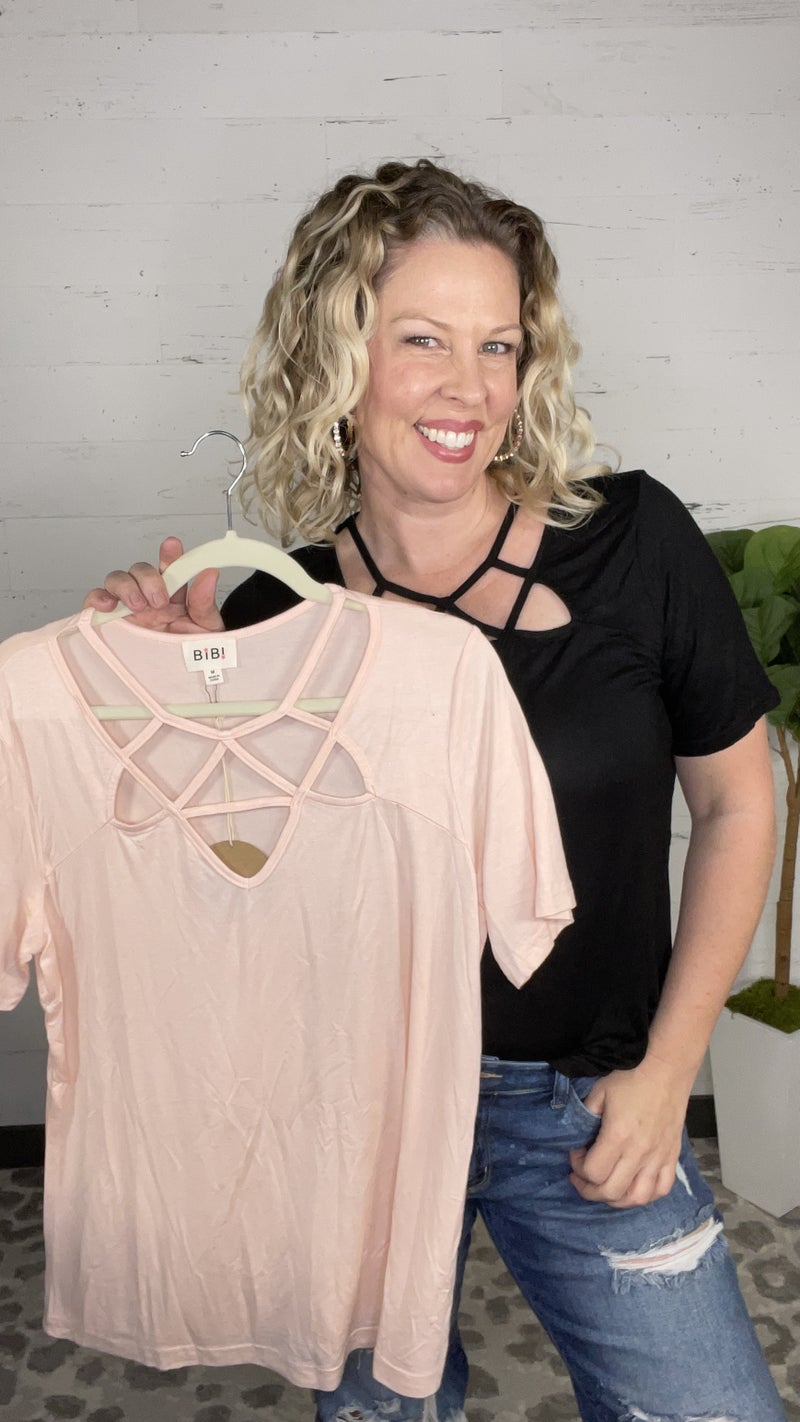 Silky Knit Cutout Tee (2 colors)