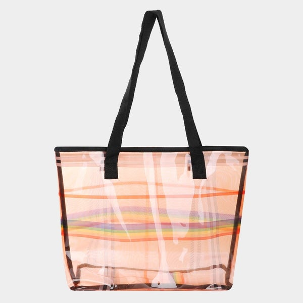 Rainbow Line Clear Tote Beach Bag