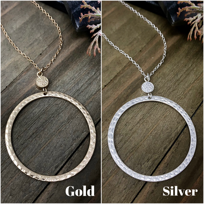 Hammered Round Pendant Long Necklace
