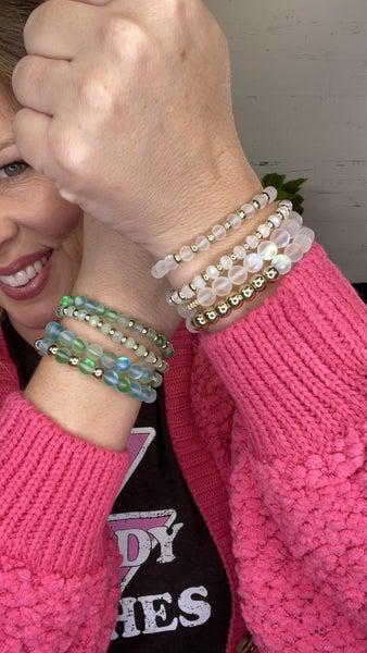 Glam Mermaid Glass Bead Stretch Bracelet