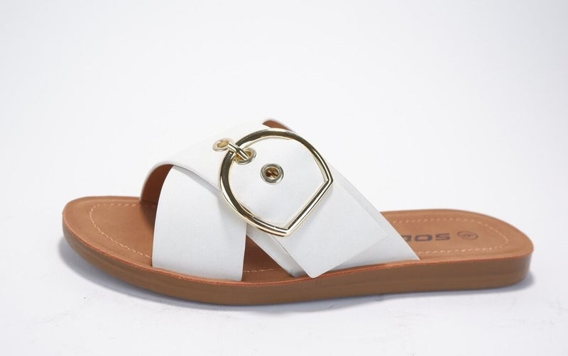 Graphic Slip On Buckle Sandal