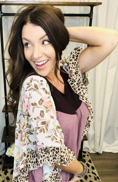 Sheer Floral and Animal Print Butterfly Sleeves
