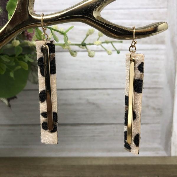 Leopard Gold Bar Dangle Earrings