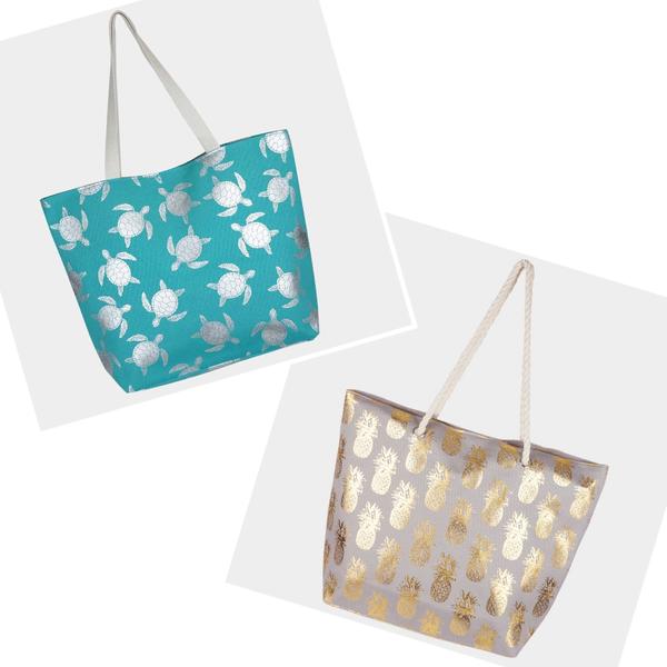 Metallic Pattern Beach Bags