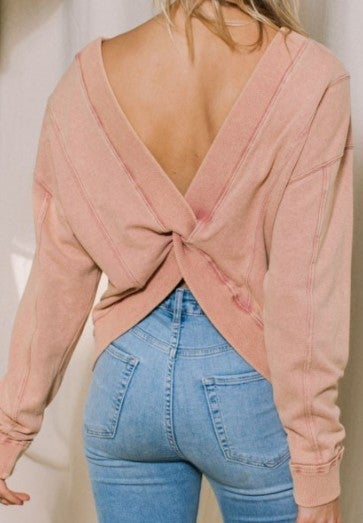 Washed Solid Terry Reversible Pullover Top