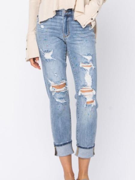 Confetti Upgrade Judy Blue Boyfriend Paint Splash Jeans