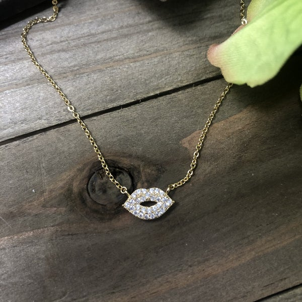 CZ and Brass Lips Necklace