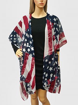 USA Flag Viscose Spring Summer Cover Up