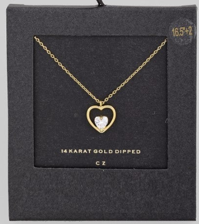 Dainty Heart Stud Pendant Necklace - Gold/Silver