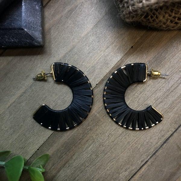Raffia Wrapped Hoop Earrings - Small