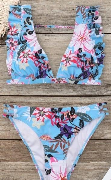 Floral Sexy V-Neck Bikini Set S-XL