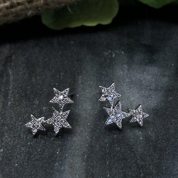 Three Stars CZ Earrings