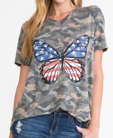Butterfly Flag Camo Tee