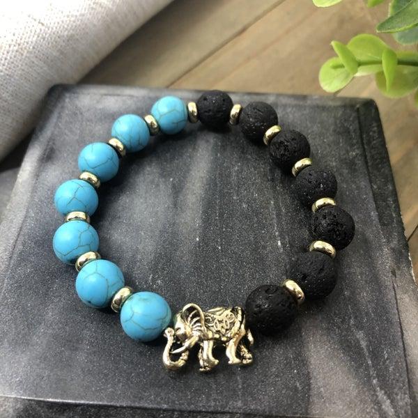 Lava Diffusion Luck Charm Elephant Stretch Bracelet