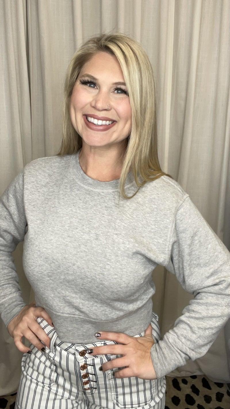 Cropped Solid Sweatshirt