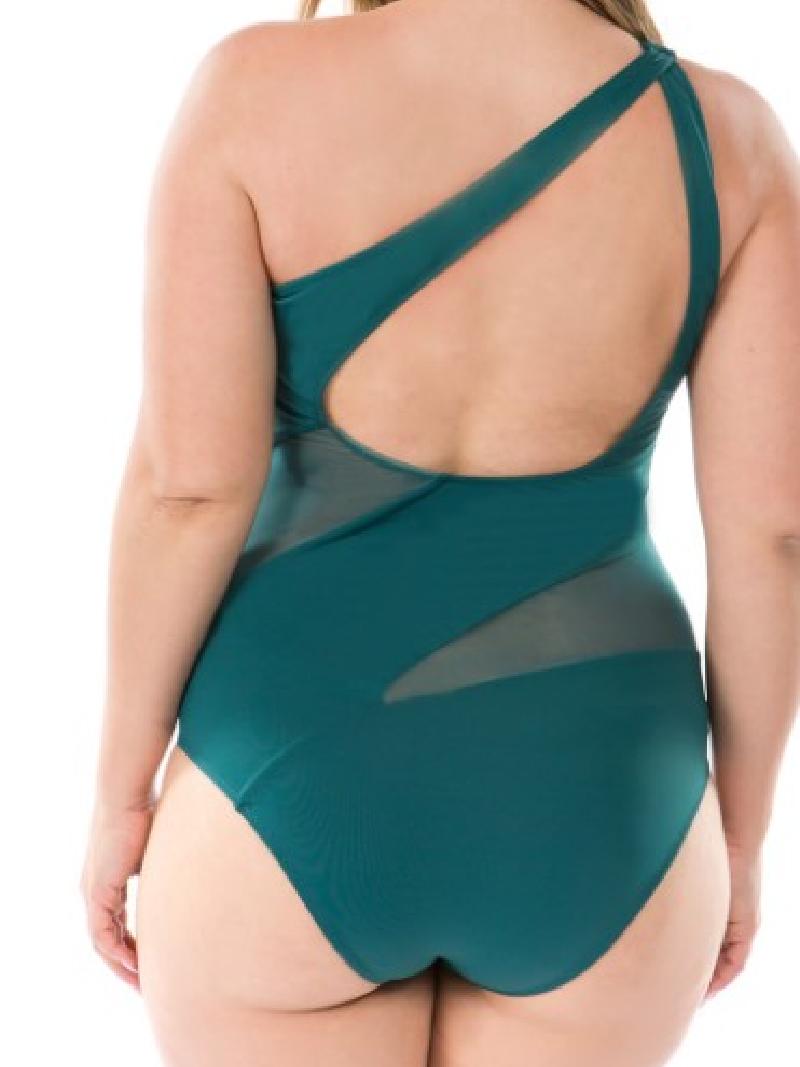 PLUS One Piece Mesh Cut Out Swimsuit