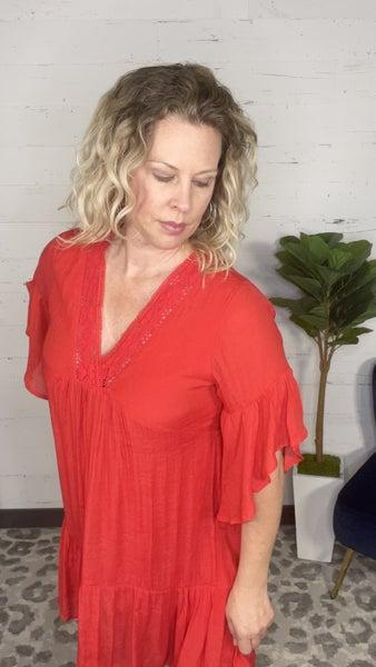 Crochet VNeck Bell Sleeve Dress