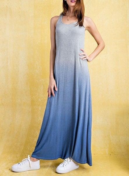Rib Knit Deep Dye Washed Tank Style Maxi Dress