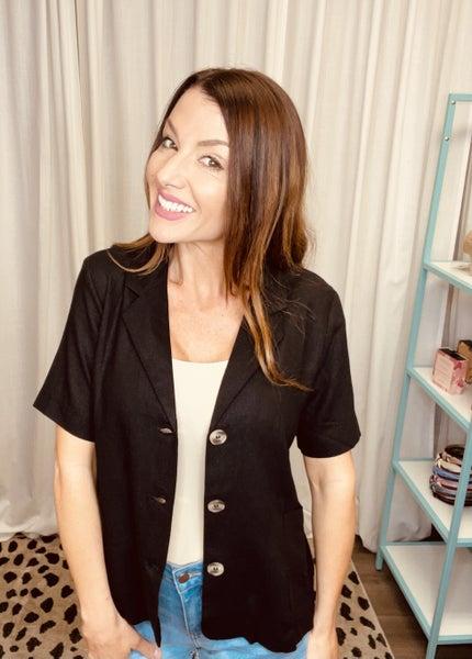Short Sleeve Button Up Linen Top