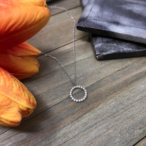 Cubic Zirconia Delicate Circle Necklace