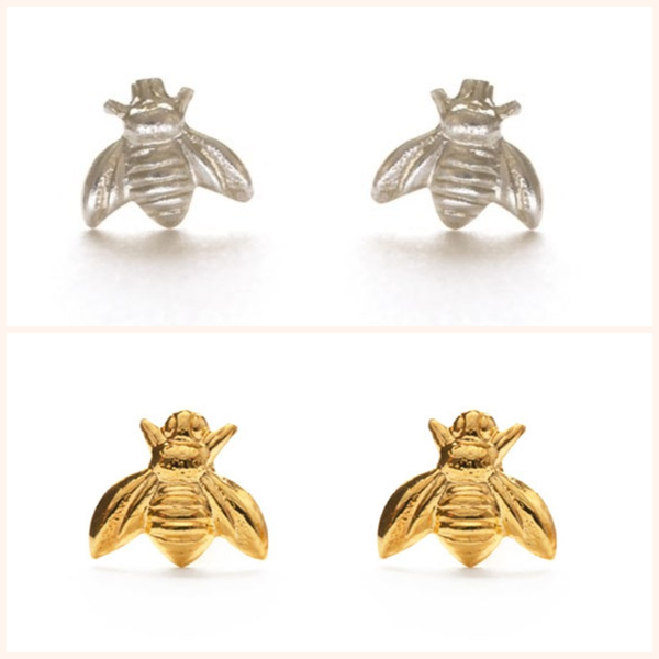 Honey Bee Studs in Silver or Gold