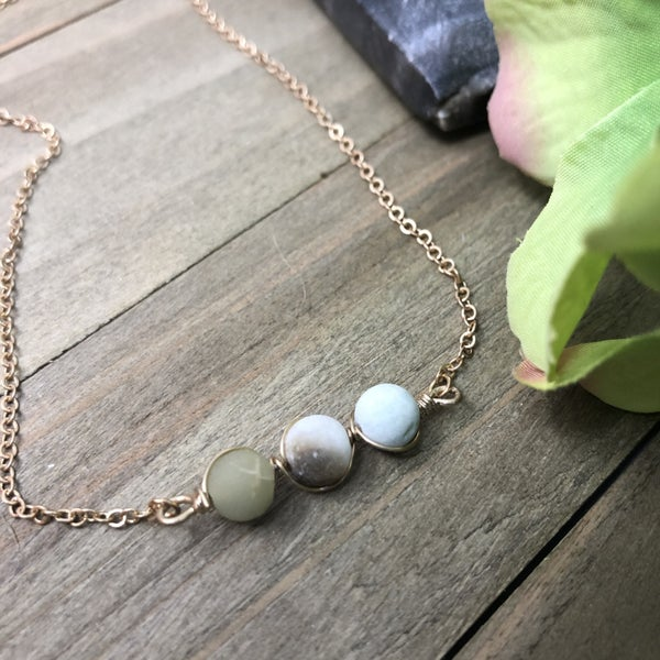 Wire Wrapped Natural Stones Necklace