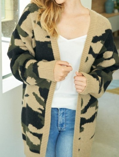 Always Camo Open Cardigan