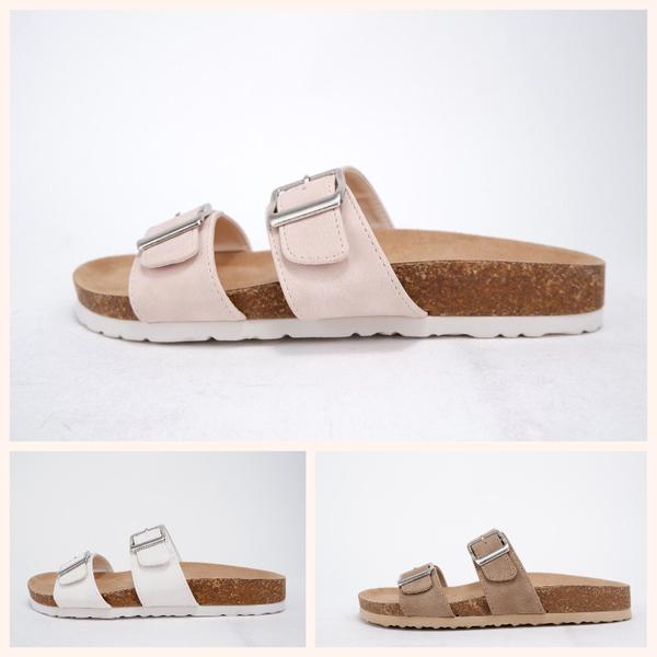 Dunya  Nubuck/Cork Slip on Buckle Sandal
